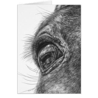 Dibujo del primer del ojo del caballo por el cisne felicitaciones
