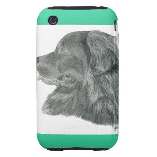 Dibujo del retrato del perro de Terranova Tough iPhone 3 Funda