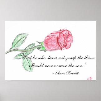 Dibujo del rosa rojo con cita impresiones