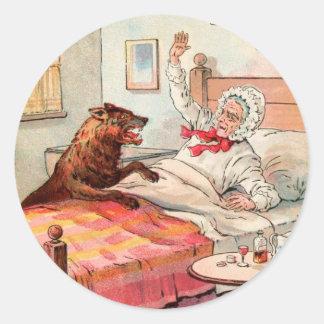 Dibujo del vintage: Abuela y el lobo Pegatina Redonda