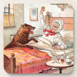Dibujo del vintage: Abuela y el lobo Posavasos De Bebidas