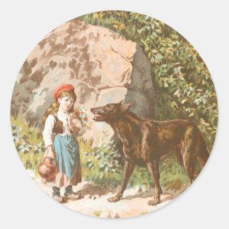 Dibujo del vintage: Capa con capucha roja y el Pegatina Redonda