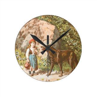 Dibujo del vintage: Capa con capucha roja y el Reloj