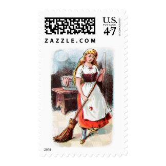 Dibujo del vintage: Cenicienta que barre el piso Timbre Postal