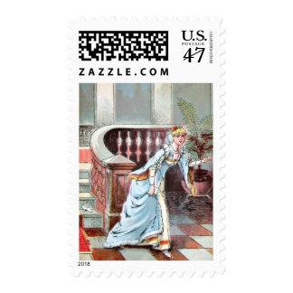 Dibujo del vintage: Cenicienta y el deslizador de Timbre Postal