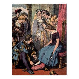 Dibujo del vintage: Cenicienta y el príncipe Postal