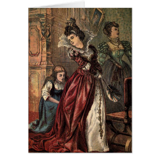 Dibujo del vintage: Cenicienta y las hermanas Tarjeton