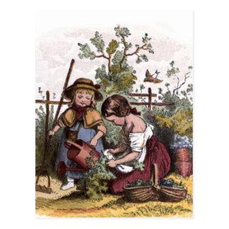 Dibujo del vintage: Chicas en el jardín del Veggie Postales