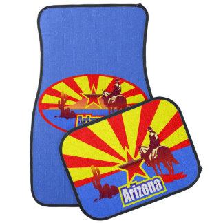 Dibujo del vintage de la bandera del estado de alfombrilla de coche