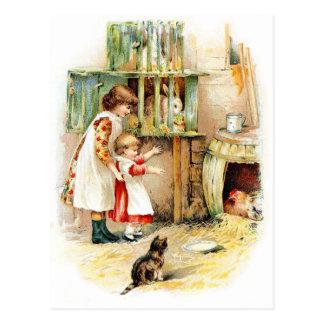 Dibujo del vintage: El aparador de conejo Tarjeta Postal