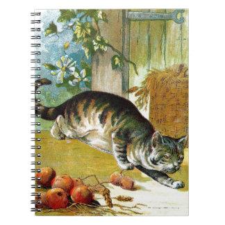 Dibujo del vintage: El gato astuto Note Book