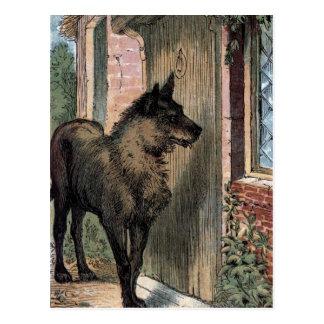 Dibujo del vintage: El lobo en la puerta de la Tarjetas Postales