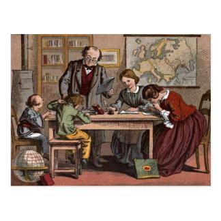 Dibujo del vintage: El profesor de escuela antiguo Postal