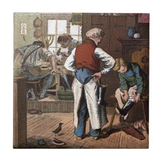 Dibujo del vintage: El zapatero Azulejo Cuadrado Pequeño