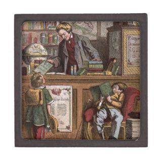 Dibujo del vintage: La librería antigua Caja De Joyas De Calidad