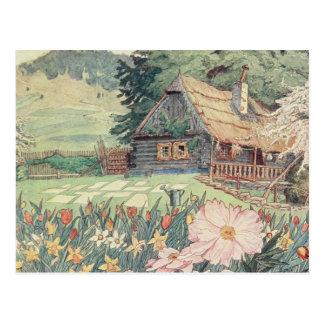 Dibujo del vintage: Pequeña cabaña de la montaña Tarjetas Postales