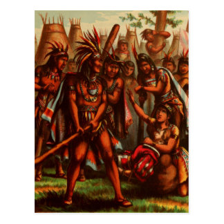 Dibujo del vintage: Pocahontas, la princesa india Postales