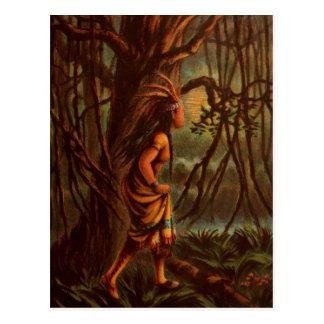 Dibujo del vintage: Pocahontas, la princesa india Tarjetas Postales