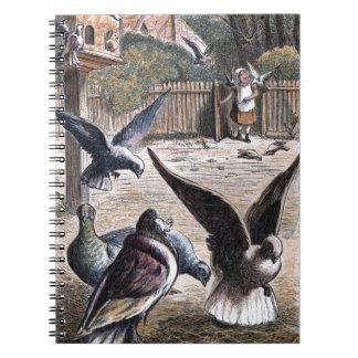 Dibujo del vintage: Portador Pidgeons Libretas