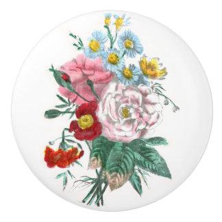 Dibujo del vintage: Rosas de Bengala Pomo De Cerámica