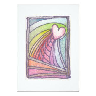 Dibujo del vitral del arco iris del corazón del invitación