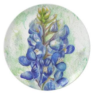 Dibujo del Wildflower del Bluebonnet de Tejas Platos