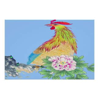Dibujo derecho del poster del gallo