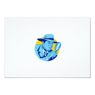 """Dibujo detective del círculo de la lupa que se invitación 3.5"""" x 5"""""""