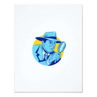 """Dibujo detective del círculo de la lupa que se invitación 4.25"""" x 5.5"""""""