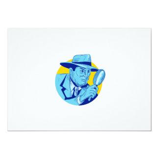 """Dibujo detective del círculo de la lupa que se invitación 5"""" x 7"""""""