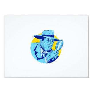 """Dibujo detective del círculo de la lupa que se invitación 6.5"""" x 8.75"""""""