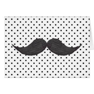Dibujo divertido del bigote y lunares negros tarjeta pequeña
