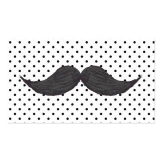 Dibujo divertido del bigote y lunares negros tarjetas de visita