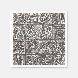 Dibujo Doodle-Moderno blanco y negro de la tinta Servilleta De Papel