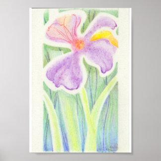 Dibujo Dreamlike de la flor del iris del vitral Póster