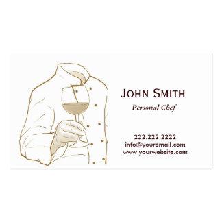 Dibujo elegante de la mano del cocinero tarjetas de visita