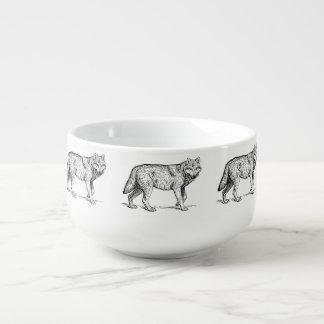 Dibujo elegante de la tinta del lobo gris cuenco para sopa