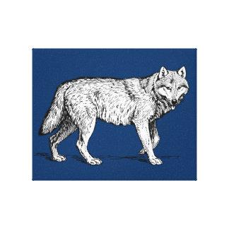 Dibujo elegante de la tinta del lobo gris impresiones de lienzo