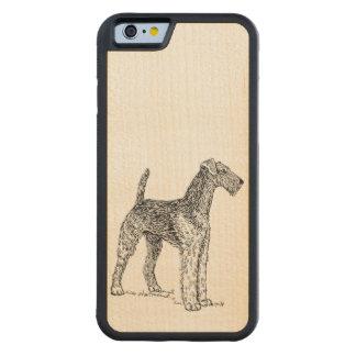 Dibujo elegante del perro de Airedale Terrier Funda De iPhone 6 Bumper Arce