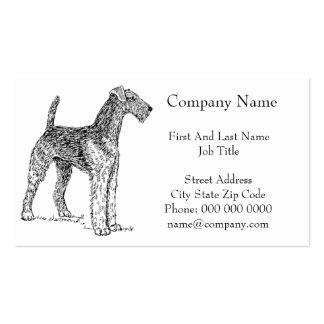 Dibujo elegante del perro de Airedale Terrier Tarjetas De Visita