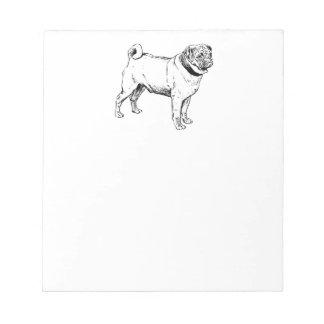 Dibujo elegante del perro del barro amasado lindo blocs de notas