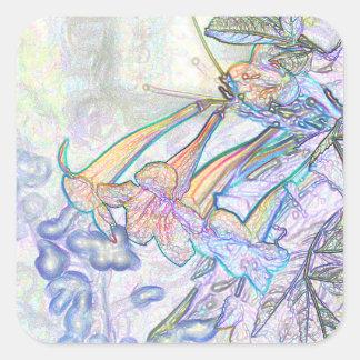 Dibujo en colores pastel abstracto de las flores colcomanias cuadradas personalizadas