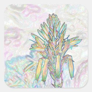 Dibujo en colores pastel abstracto de las flores calcomanías cuadradass personalizadas