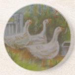 Dibujo en colores pastel de los gansos irlandeses  posavasos personalizados