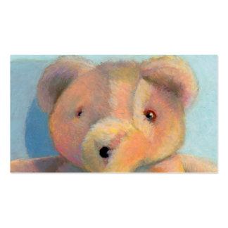 Dibujo en colores pastel de peluche del oso del ac tarjetas de visita