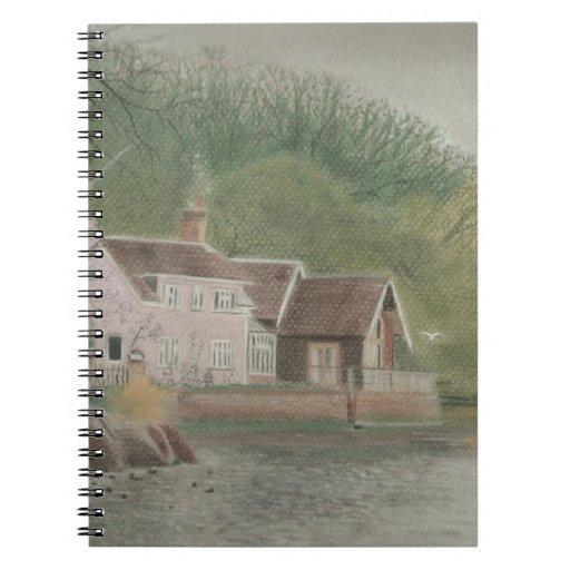 Dibujo en colores pastel del paisaje de Suffolk Spiral Notebooks