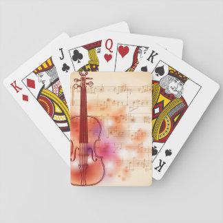 Dibujo en el fondo de la acuarela del violín cartas de juego