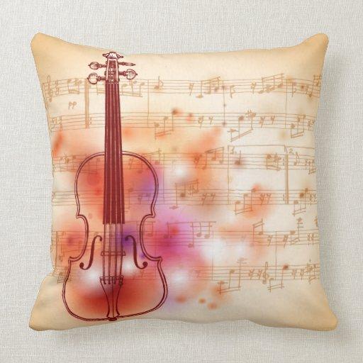 Dibujo en el fondo de la acuarela del violín cojín