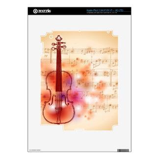 Dibujo en el fondo de la acuarela del violín iPad 3 pegatina skin