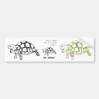 Dibujo enojado de la tortuga pegatina para auto
